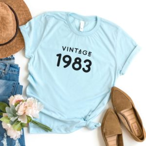 1983 t shirt 37th birthday gift for her 1983 birthday shirt Blue / black print