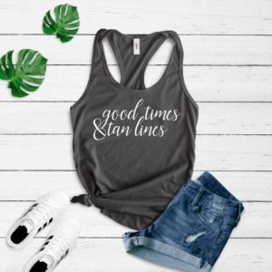 Good Times and Tan Lines Women's Fit Racerback Tank Tops  image 0