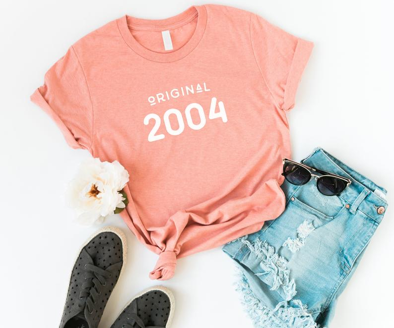 16th birthday gift 2004 shirt for teen graphic tees for women Peach / white print