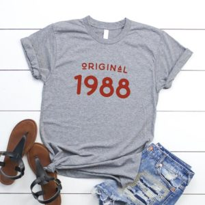 32nd birthday gift for her 1988 shirt for womens graphic tee Grey / red print