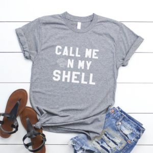 Call me on my shell Funny T-Shirt T Shirt with sayings Gray / white print