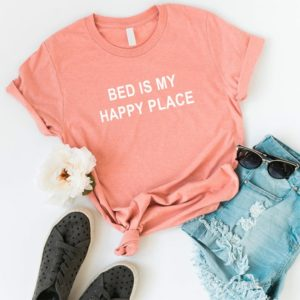 Bed is my happy place Graphic Tees Women T-shirt Tumblr Peach / white print