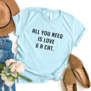 All you need is love and Cat T shirt t-shirt tumblr grunge Blue / black print