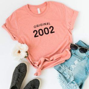 18th birthday 2002 party shirt birthday girl shirts graduation Peach / black print
