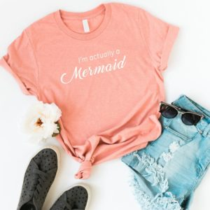 Mermaid shirt Funny Shirts T-Shirts Quote Shirt Tumblr Graphic Peach / white print