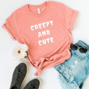 Creepy and Cute T Shirt with sayings Tumblr Tee Shirt for Peach / white print