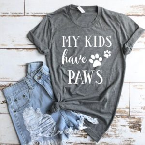 Dog Mom Shirt  My Kids Have Paws Dark Heather Grey T-shirt  image 0
