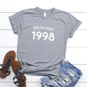 1998 shirt women graphic tee vintage 22nd birthday gift for Gray / white print