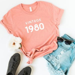 40th birthday gifts for women shirt gift for her 1980 birthday Peach / white print