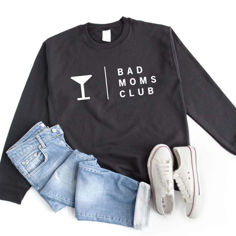 Bad moms club funny drinking shirt with sayings cute Black