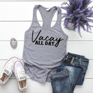 Vacay All Day Grey Women's Racerback Tank Top  Vacay Mode image 0