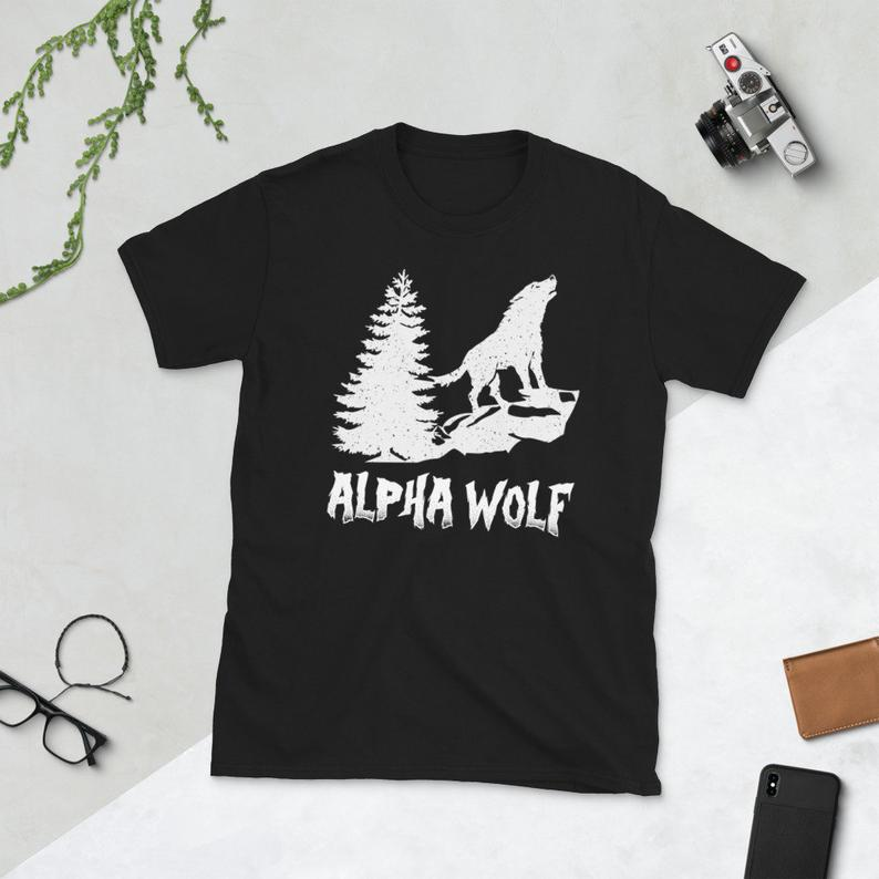 Wolf Shirt Wolves Animal Lover Gift Alpha Wolf Short-Sleeve image 0