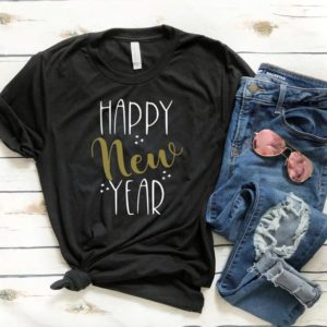 Happy New Year T-shirt  New Years T-shirts  Black and Gold  image 0