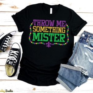 Throw Me Something Mister T-Shirt Funny Mardi Gras Tee Beads Solid Black Blend